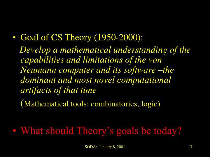 Goal of CS Theory (1950-2000):