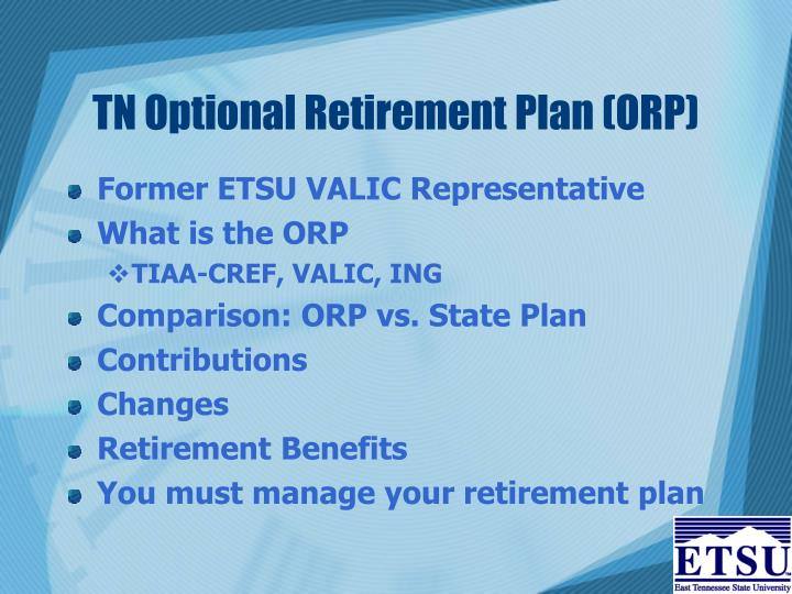 TN Optional Retirement Plan (ORP)