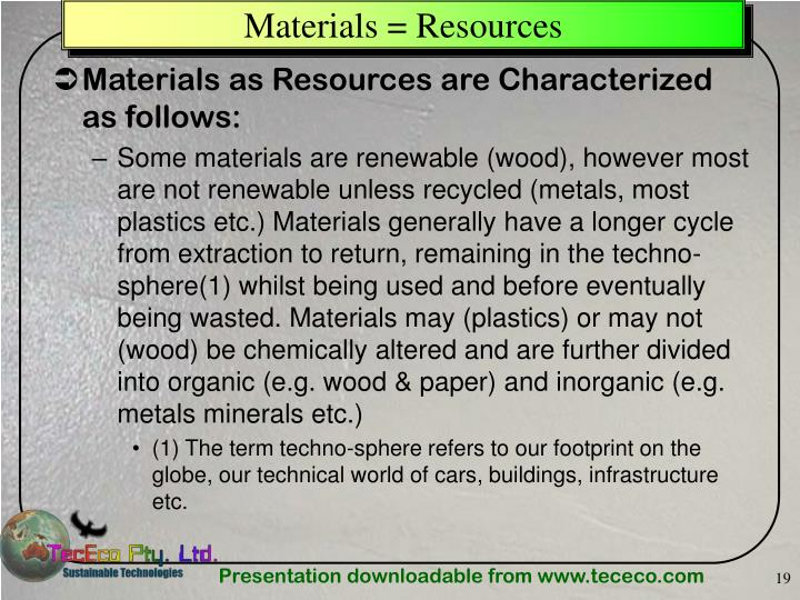 Materials = Resources