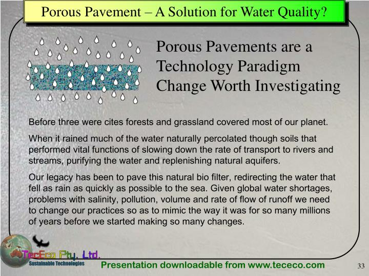 Porous Pavement – A Solution for Water Quality?