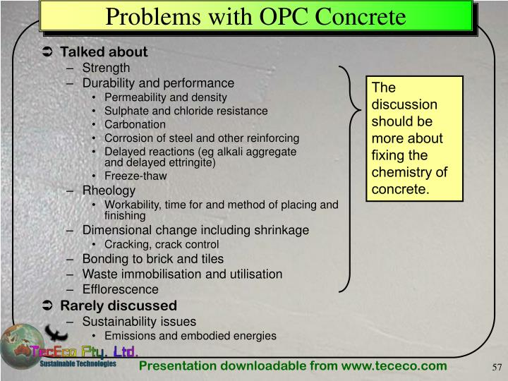 Problems with OPC Concrete
