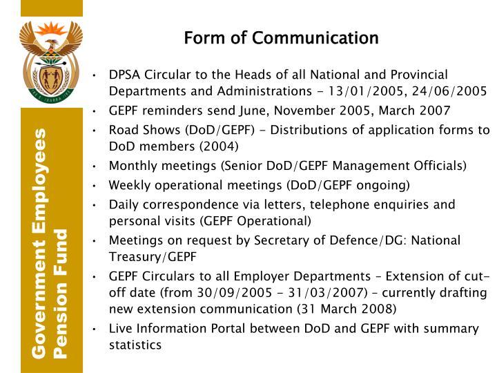 Form of Communication