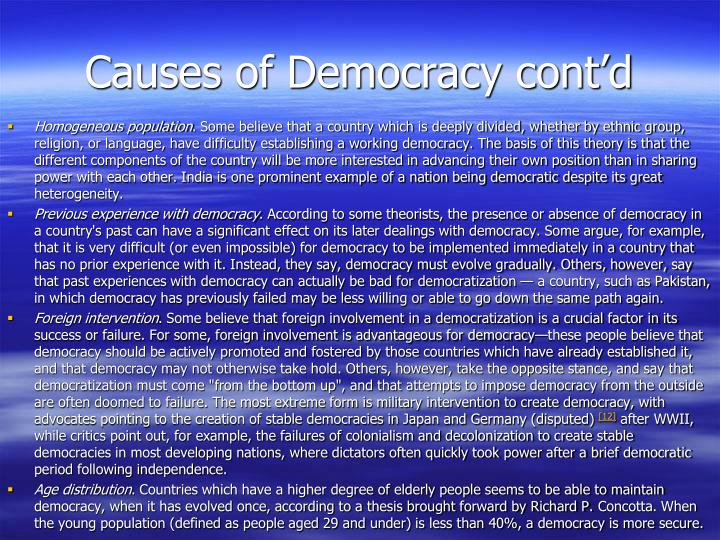 Causes of Democracy cont'd