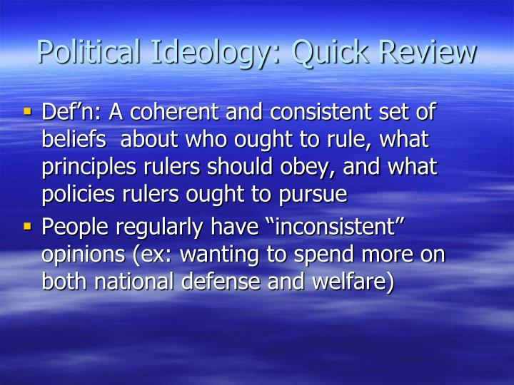 Political Ideology: Quick Review