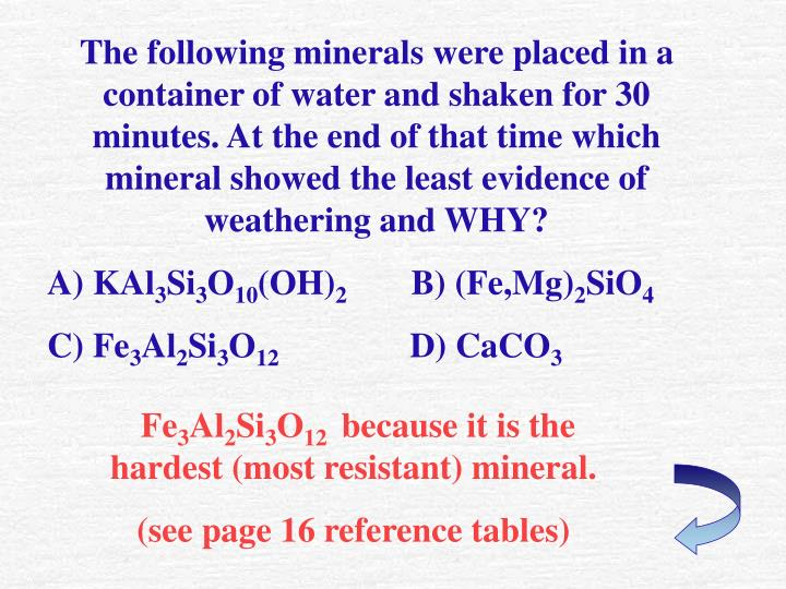 The following minerals were placed in a container of water and shaken for 30 minutes. At the end of that time which mineral showed the least evidence of weathering and WHY?