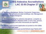 ldeq asbestos accreditations lac 33 iii chapter 27