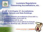 louisiana regulations concerning accreditations etc