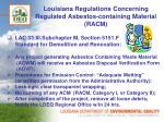 louisiana regulations concerning regulated asbestos containing material racm1