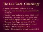 the last week chronology