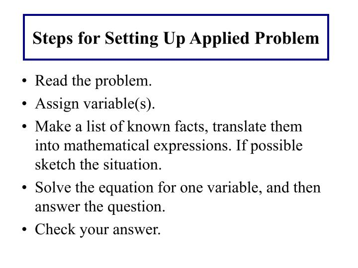 Steps for setting up applied problem