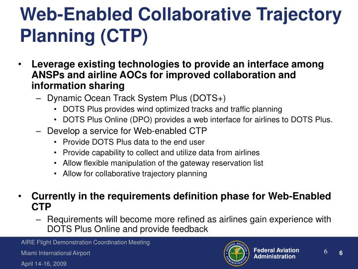 Web-Enabled Collaborative Trajectory Planning (CTP)