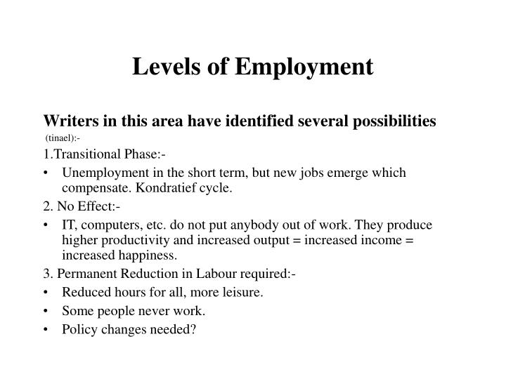 Levels of Employment