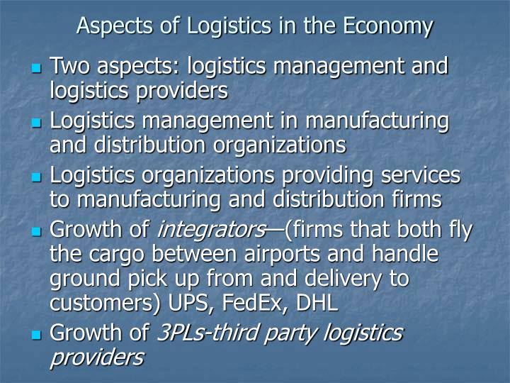 Aspects of Logistics in the Economy