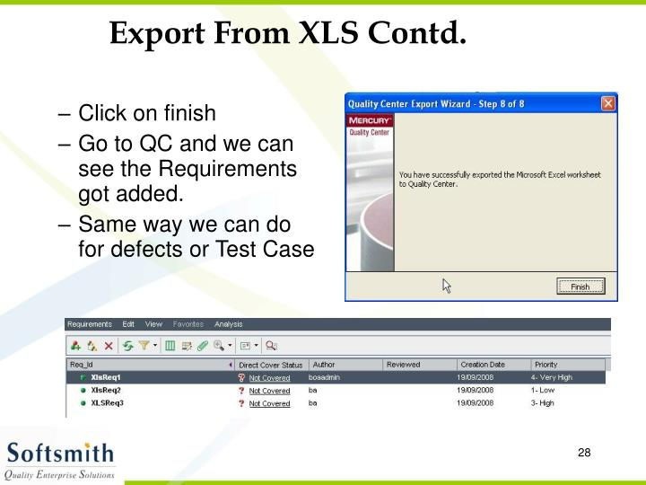 Export From XLS Contd.