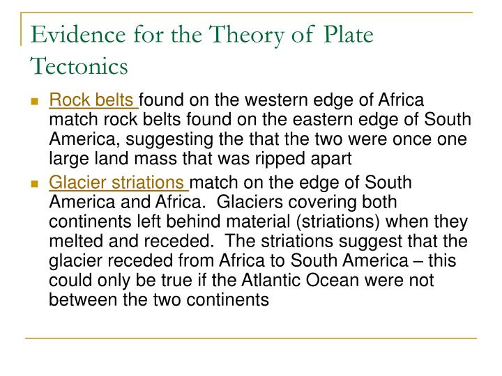 Evidence for the theory of plate tectonics1