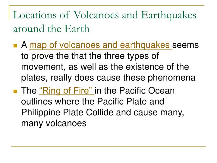 Locations of Volcanoes and Earthquakes around the Earth