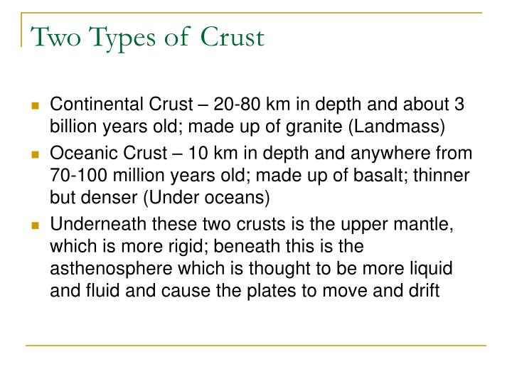 Two Types of Crust