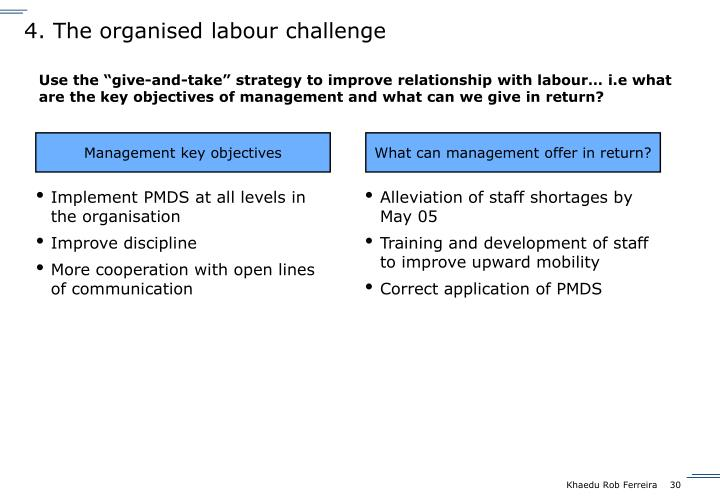 4. The organised labour challenge