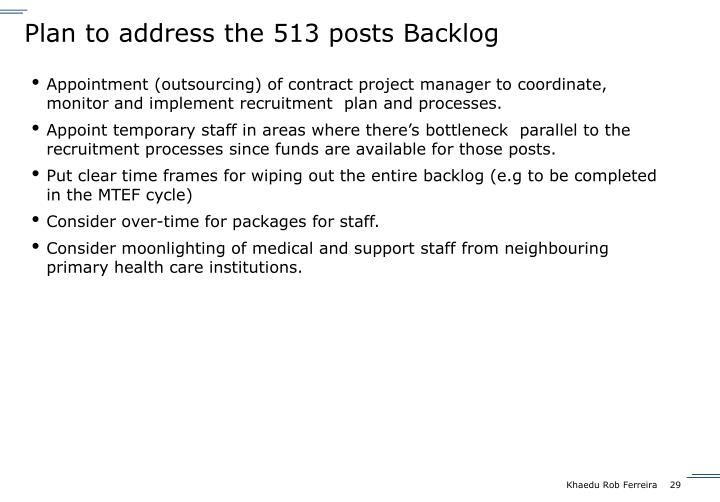 Plan to address the 513 posts Backlog