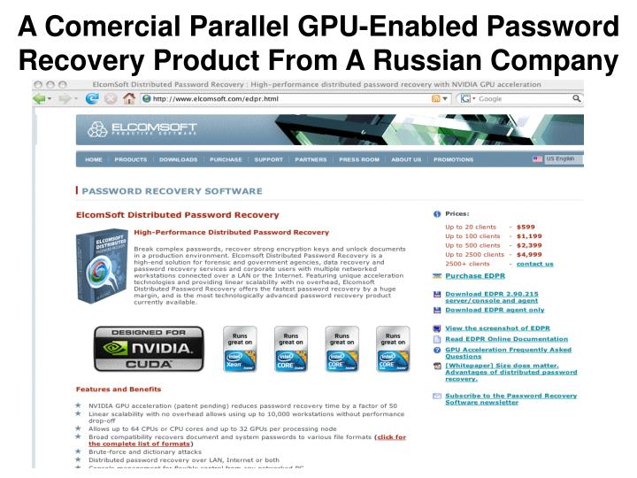 A Comercial Parallel GPU-Enabled Password