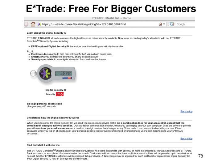 E*Trade: Free For Bigger Customers