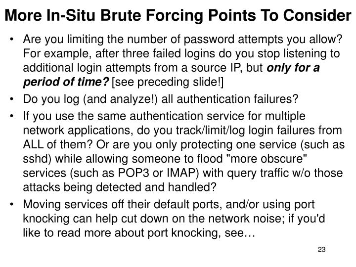More In-Situ Brute Forcing Points To Consider