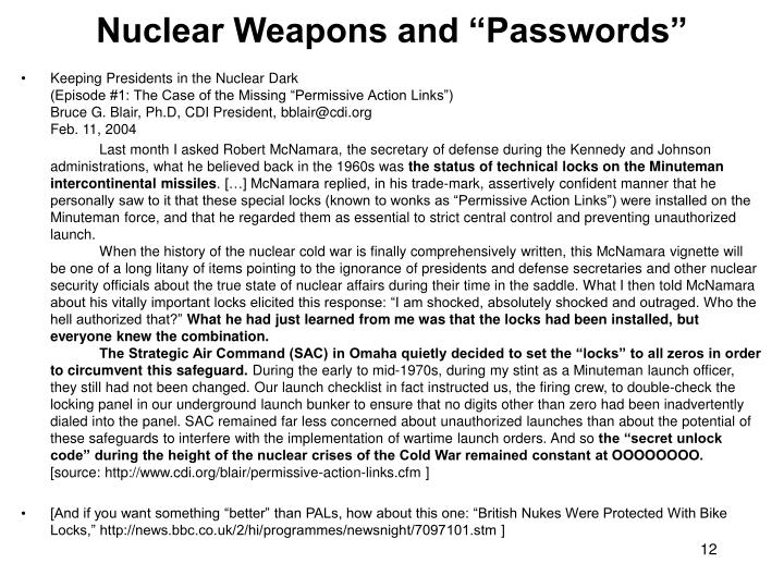 """Nuclear Weapons and """"Passwords"""""""