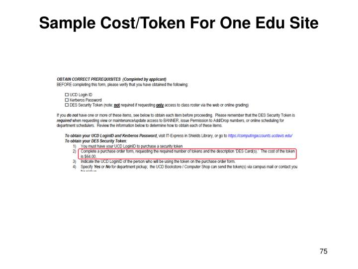 Sample Cost/Token For One Edu Site