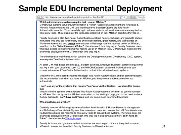 Sample EDU Incremental Deployment