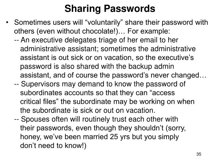 Sharing Passwords