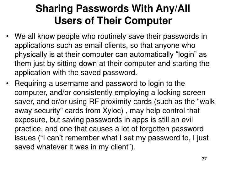 Sharing Passwords With Any/All