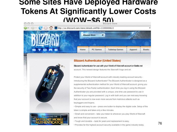 Some Sites Have Deployed Hardware Tokens At Significantly Lower Costs (WOW=$6.50)