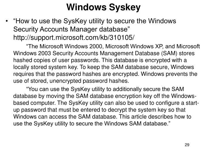 Windows Syskey