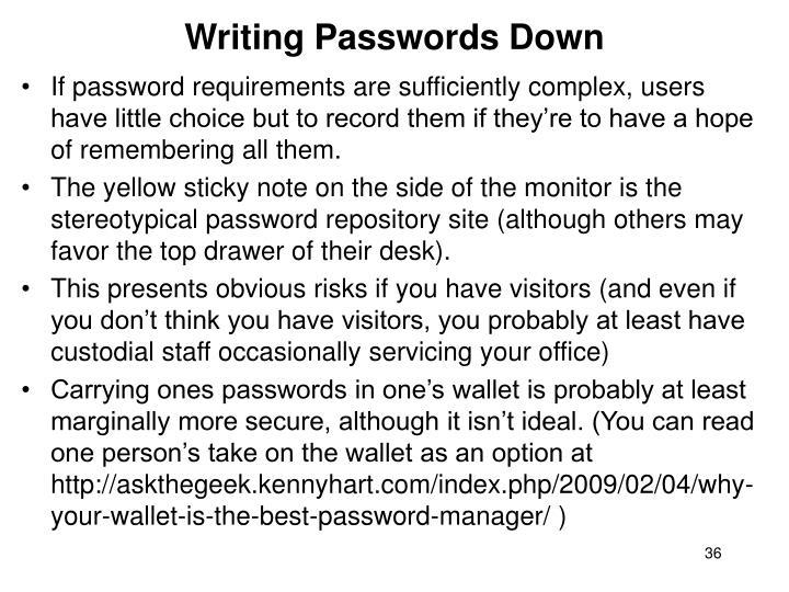 Writing Passwords Down