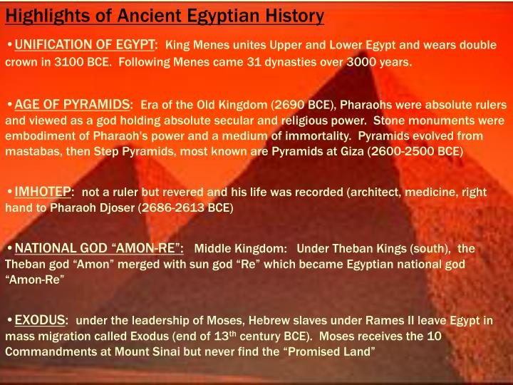 Highlights of Ancient Egyptian History