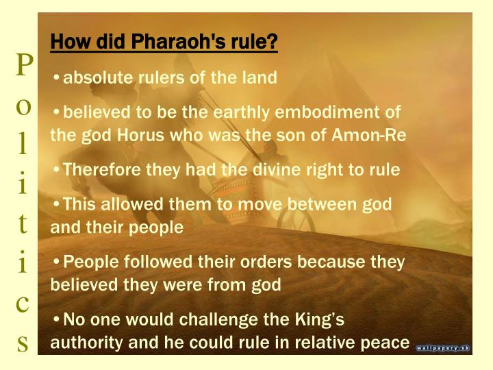 How did Pharaoh's rule?