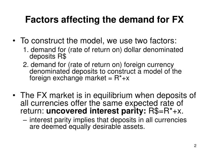 Factors affecting the demand for fx