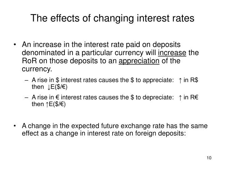 The effects of changing interest rates
