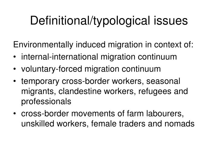 Definitional typological issues
