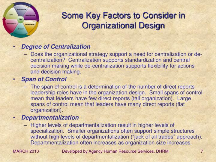 Some Key Factors to Consider in Organizational Design