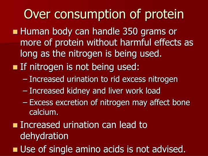 Over consumption of protein