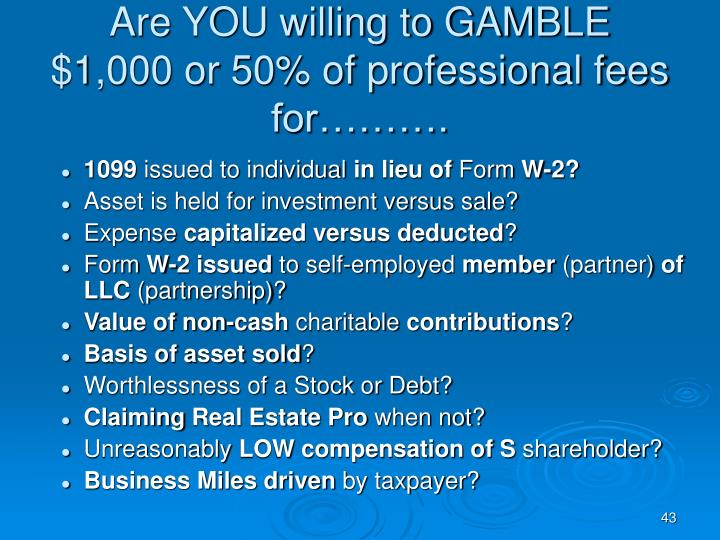 Are YOU willing to GAMBLE