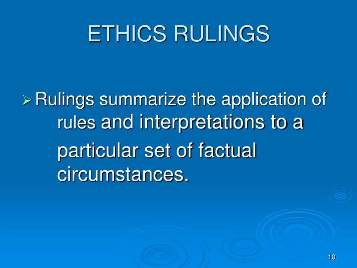 ETHICS RULINGS