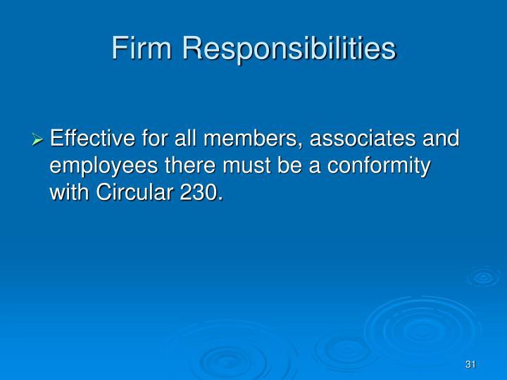 Firm Responsibilities