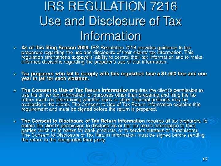 IRS REGULATION 7216