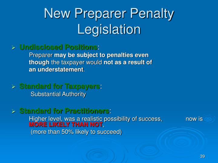 New Preparer Penalty Legislation
