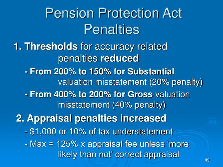 Pension Protection Act Penalties
