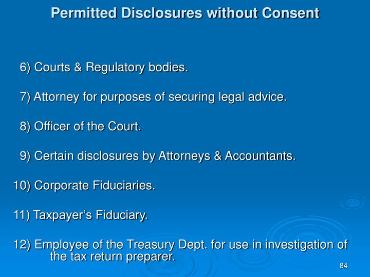 Permitted Disclosures without Consent