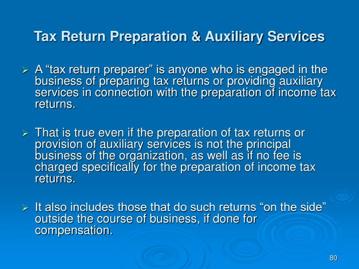 Tax Return Preparation & Auxiliary Services