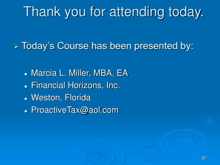 Thank you for attending today.